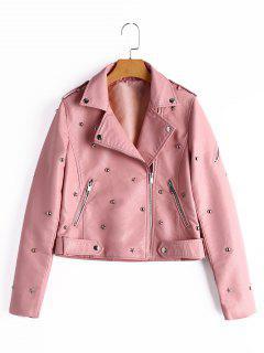 Rivet Embellished Faux Leather Jacket - Pink M