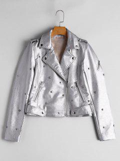 Rivet Embellished Faux Leather Jacket - Silver M