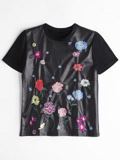 Faux Leather Floral Embroidered Top - Black M