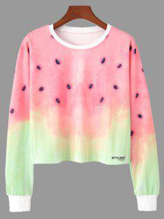 Ombre Color Watermelon Print Cropped Sweatshirt - L