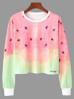 Ombre Color Watermelon Print Cropped Sweatshirt - M