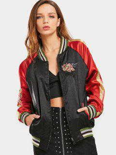 Zip Up Embroidered Double Side Baseball Jacket - Black L