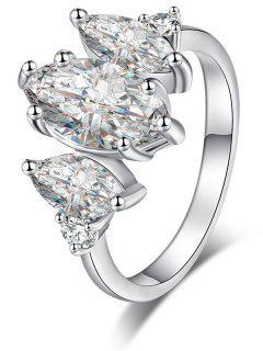 Horse Eye Zircon Metal Ring - Silver 8