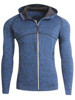 Stretch Zip Up Fleece Heathered Running Hoodie - Blue M