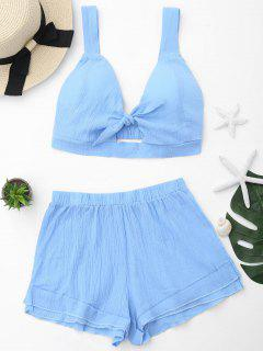 Cut Out Crop Top And Shorts Set - Sky Blue L