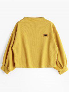Badge Patched Lantern Sleeve Sweatshirt - Ginger