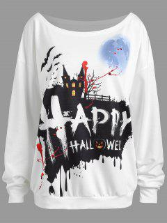 Plus Size Happy Halloween Drop Shoulder Sweatshirt - White Xl