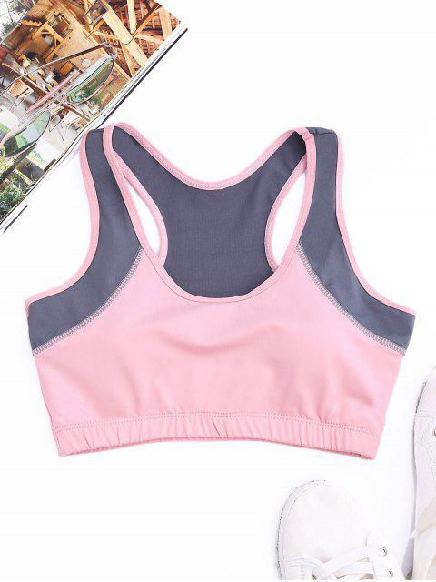 Racerback Two Tone Sports Bra - ROSE PÂLE L Mobile
