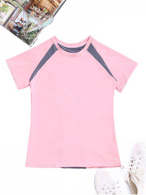 online Two Tone Workout Top - PINK XL Mobile