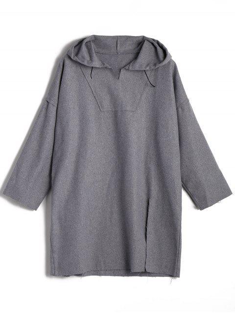 women's Wool Blend Slit Longline Hoodie - GRAY ONE SIZE Mobile