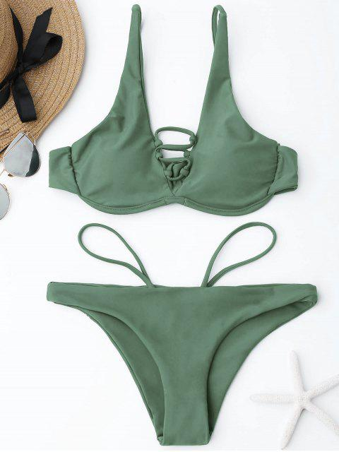 shop Lace-up Underwire Bikini Set - SAGE GREEN L Mobile