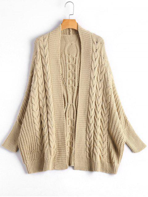 best Cable Knit Batwing Sleeve Kardigan - APRICOT ONE SIZE Mobile