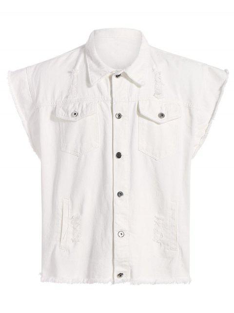 online Ripped Graphic Sleeveless Denim Jacket - WHITE XL Mobile
