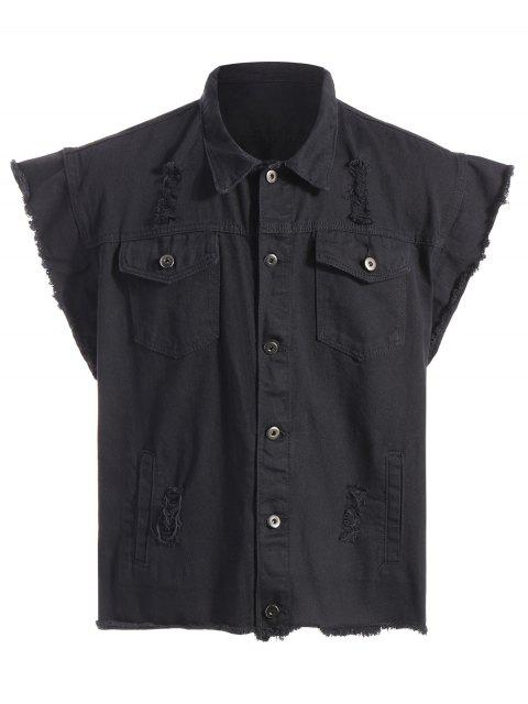outfit Ripped Graphic Sleeveless Denim Jacket - BLACK XL Mobile