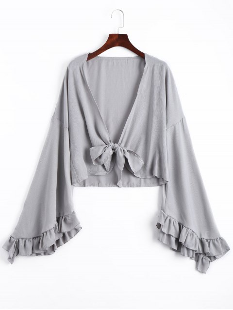 affordable Frilled Front Knot Cover-up Top - GRAY L Mobile