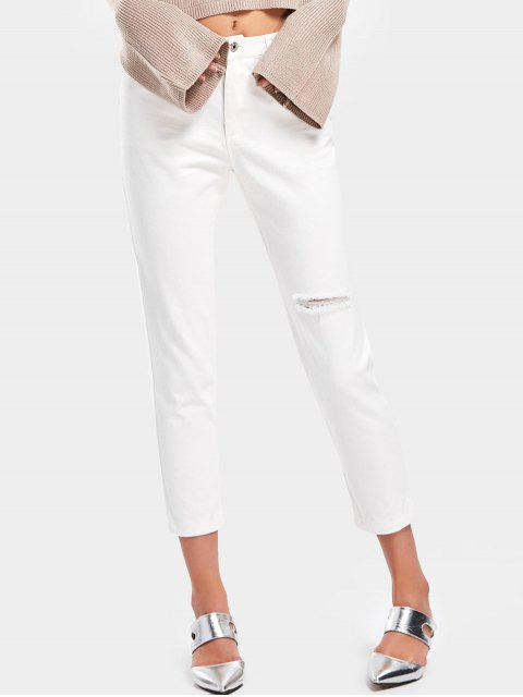chic High Waisted Distressed Pencil Jeans - WHITE M Mobile