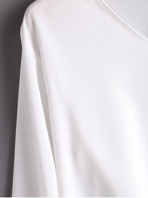 sale Flare Sleeve V Neck Bowknot Blouse - WHITE L Mobile