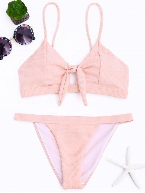 lady Ribbed Low Waisted Bikini Set - PINK M Mobile