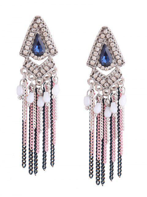 Boucles d'oreilles en résine Rhinestone Teardrop Fringed Chain - Bleu  Mobile