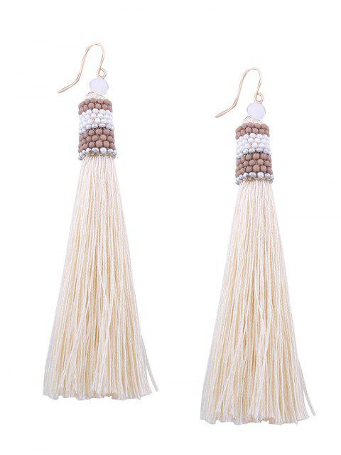 Boucles d'oreilles en crochet en perles vintage - Blanc  Mobile