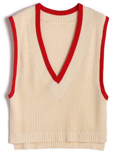 Chaleco de dos tonos que empuja el suéter del cuello - Albaricoque Talla única Mobile