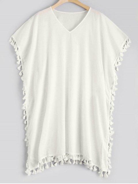 fancy Tassel Kaftan Cover-up Dress - WHITE ONE SIZE Mobile