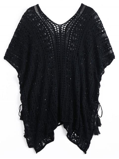 unique Lace-up Crochet Cover-up Dress - BLACK ONE SIZE Mobile