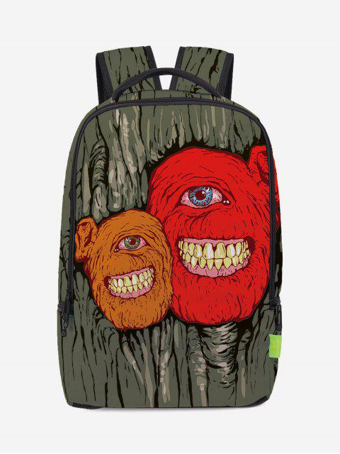 fancy Canvas Zips Monster Backpack - RED AND ORANGE  Mobile