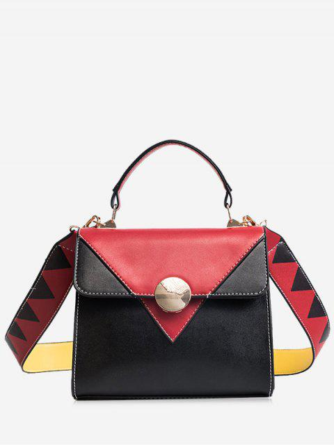 affordable Color Blocking Geometric Faux Leather Crossbody Bag - RED  Mobile