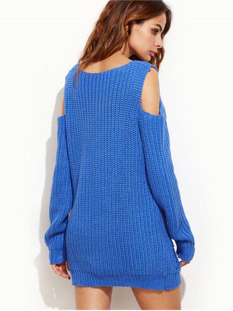 shops Ripped Cold Shoulder Mini Sweater Dress - ROYAL M Mobile