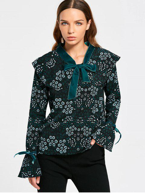 online Tiny Floral Tie Neck Blouse - BLACK AND GREEN S Mobile