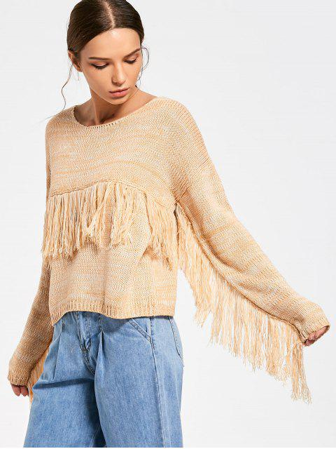 shops Tassels Heathered Sweater - YELLOW ONE SIZE Mobile