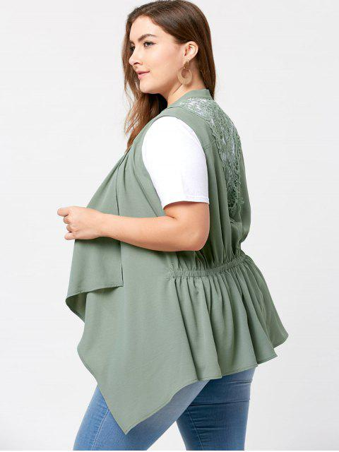 ladies Plus Size Lace Insert Waterfall Wasitcoat - PEA GREEN 2XL Mobile
