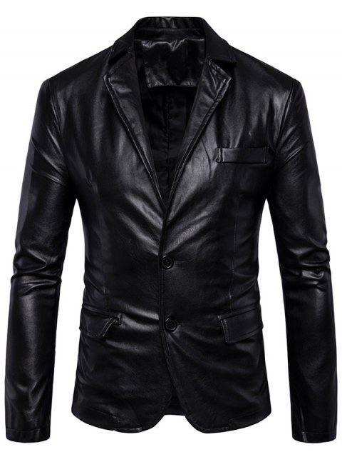 Reverskragen Blazer aus Kunst Leder mit einreihigen Knöpfen - Schwarz XL Mobile