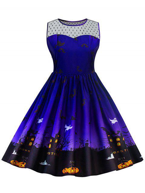 Halloween Lace Panel Vestido de talla grande - Azul XL Mobile