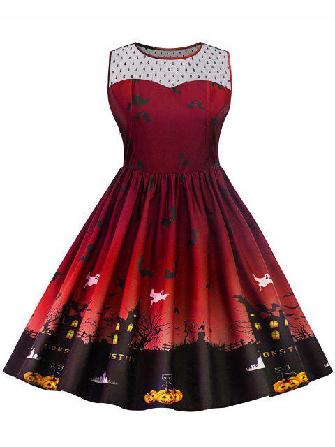 Halloween Lace Panel Vestido de talla grande - Vino Rojo XL Mobile