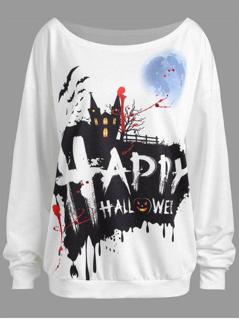 Plus Size Happy Halloween Drop Schulter Sweatshirt - Weiß 3XL Mobile