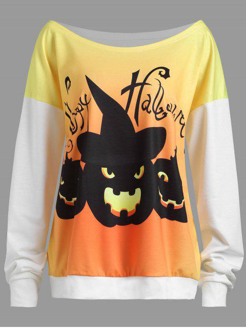 ladies Plus Size Happy Halloween Pumpkin Drop Shoulder Sweatshirt - WHITE 2XL Mobile