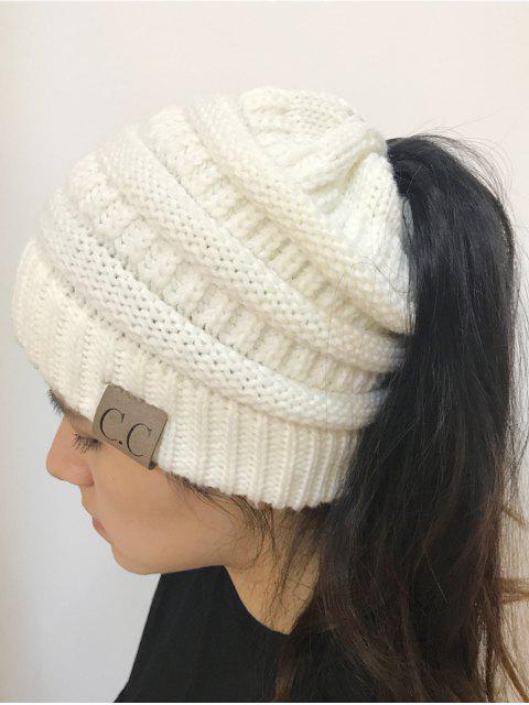 Chapeau en tricot en haut ouvert Mixcolor - Blanc  Mobile