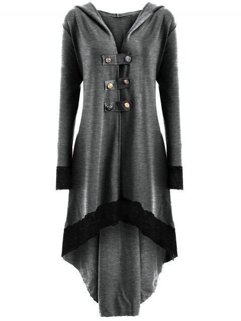 Manteau Grande Taille à Lacets et Capuche Haut-Bas - Gris Clair 3XL Mobile