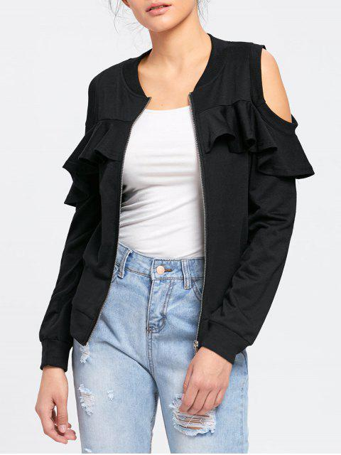 trendy Ruffle Cold Shoulder Jacket - BLACK 2XL Mobile