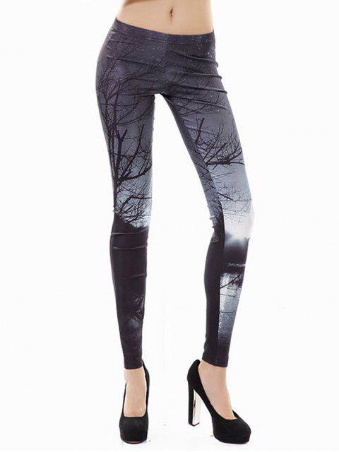 trendy Halloween 3D Print Branches Leggings - BLACK XL Mobile