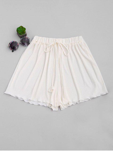 fancy Pleated Cover-Up Shorts - OFF-WHITE ONE SIZE Mobile