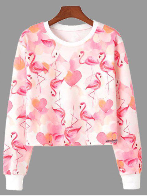 Crop Sweatshirt mit Flamingo-Druck und Rundhalsausschnitt - Pink S Mobile