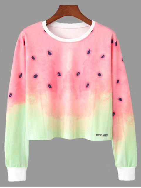 online Ombre Color Watermelon Print Cropped Sweatshirt - COLORMIX S Mobile
