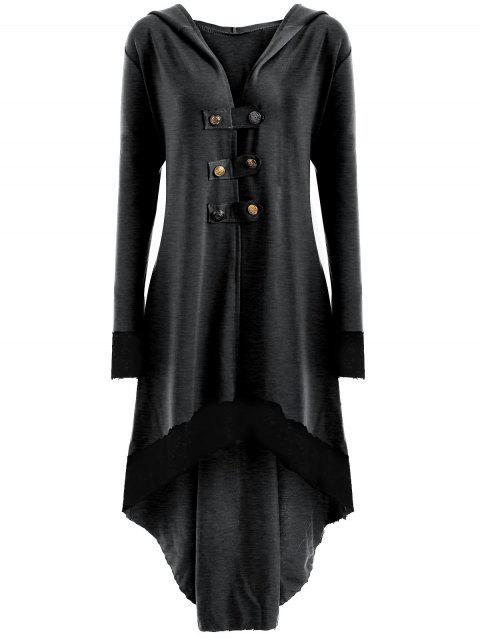 Manteau Grande Taille à Lacets et Capuche Haut-Bas - Gris Foncé 2XL Mobile