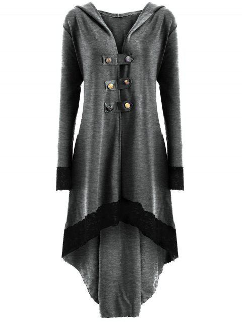 shops Lace-up Plus Size Hooded High Low Coat - LIGHT GRAY 2XL Mobile