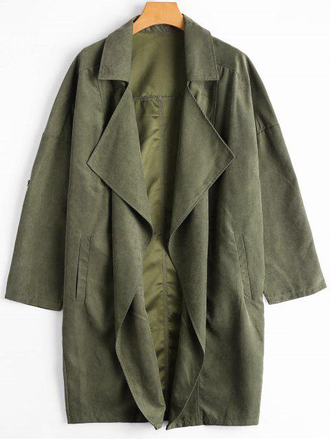trendy Drop Shoulder Lapel Trench Coat - ARMY GREEN L Mobile
