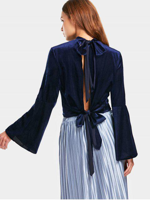 Flare Sleeve Velvet Cut Out Top - Azul Purpúreo L Mobile