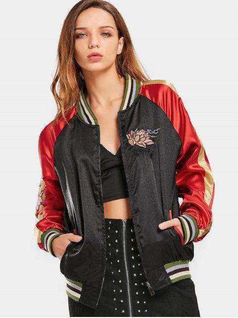 Zip Up chaqueta bordada de béisbol lateral doble - Negro L Mobile